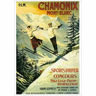 Chamonix 2 Ski Jumpers Greeting Card