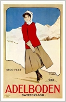 Adbelboden Switzerland Ice Skater Postcard