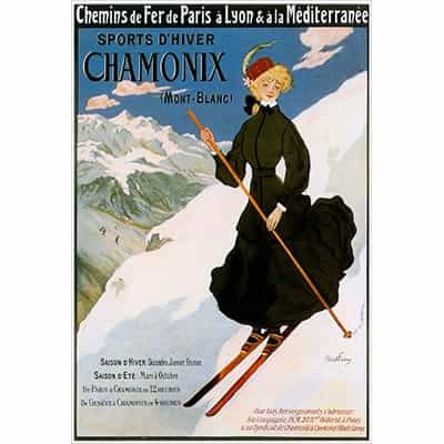 Chamonix Postcard - Skier in Dress
