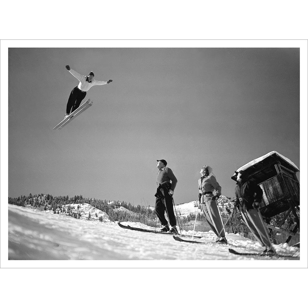 Art Devlin Jumping Over Gary Cooper Vintage Ski Photo