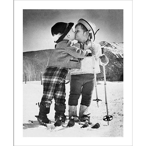 Vintage Photo of Kids Kissing
