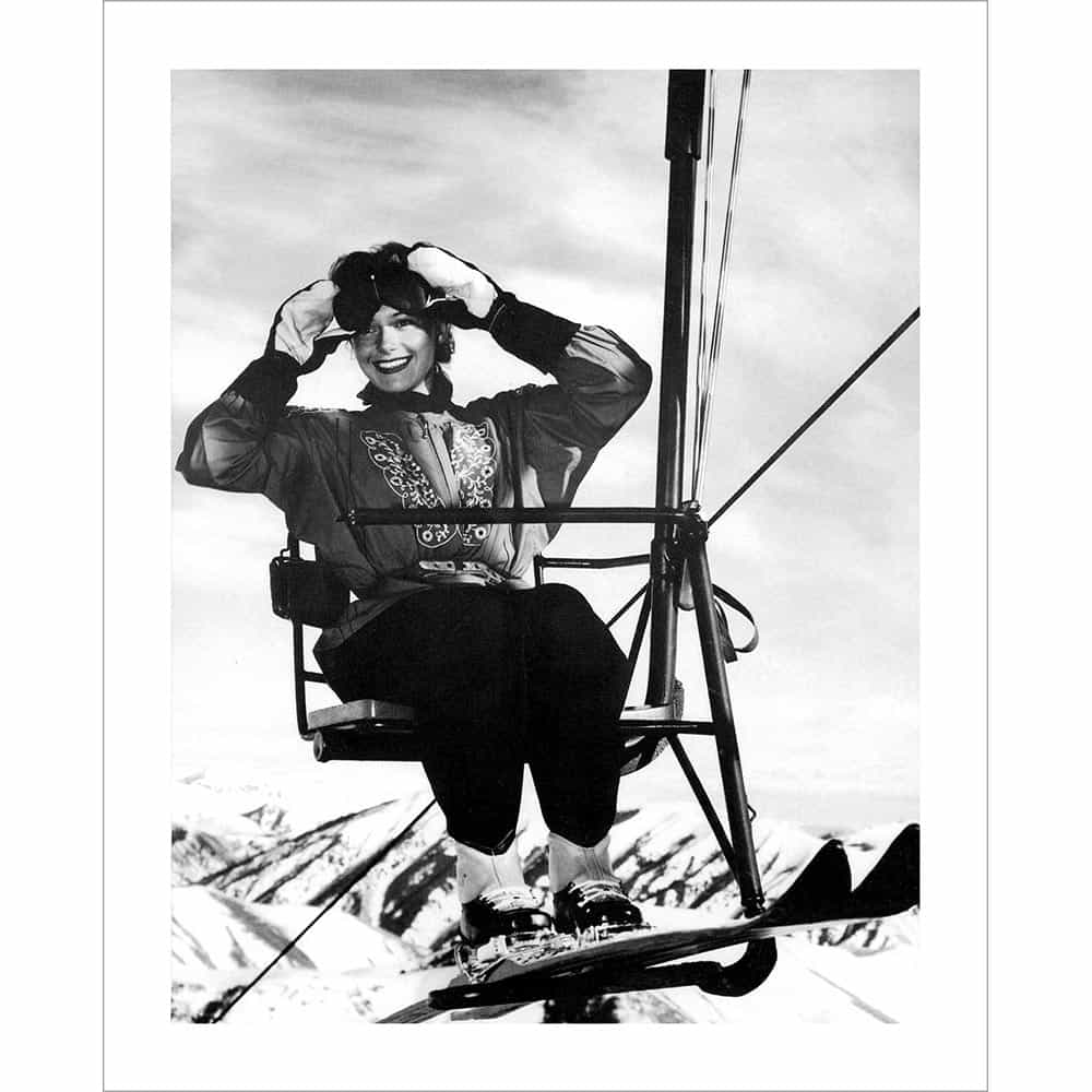 Sun valley single chair lift rider vintage photograph black and