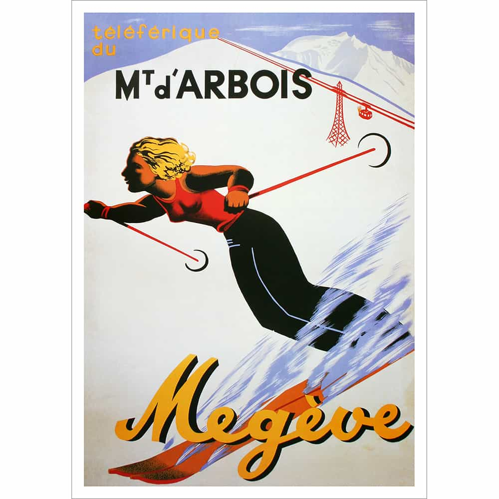 Meg 232 Ve Mt D Arbois Vintage French Art Deco Ski Poster
