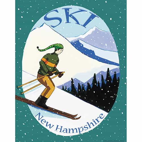 Ski New Hampshire Vintage Art Deco Ski Poster