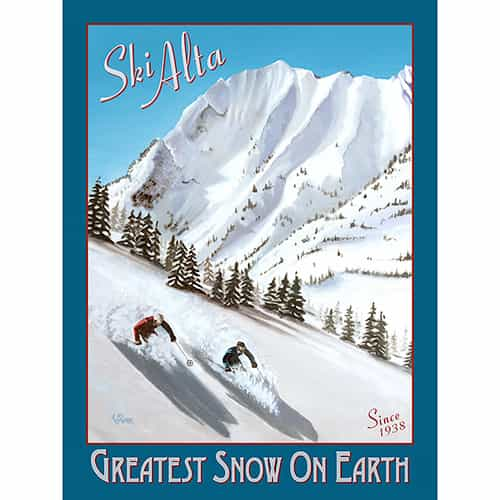 Alta - Greatest Snow On Earth Ski Poster by Travis Anderson