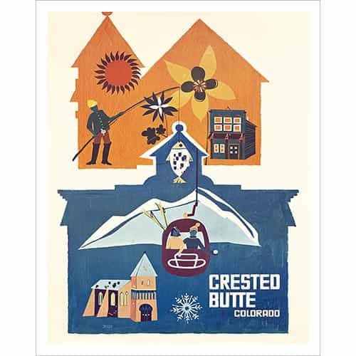 Crested Butte Co Vintage Ski Poster