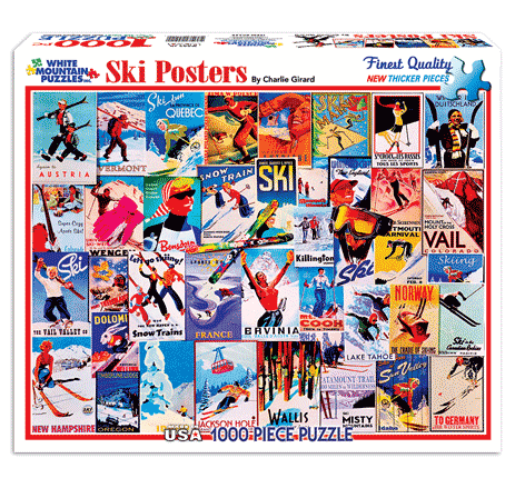 vintage ski themed jigsaw puzzles